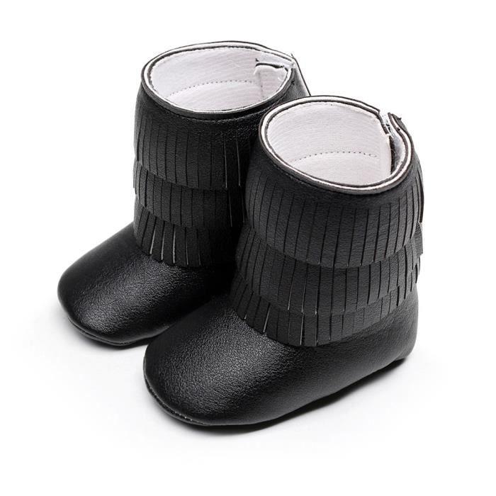 5818c8b76be88 Benjanies®Hiver 3 couches franges bébé bottes tout-petits bottes fond  molles chaussures NOIR XYM708901BK