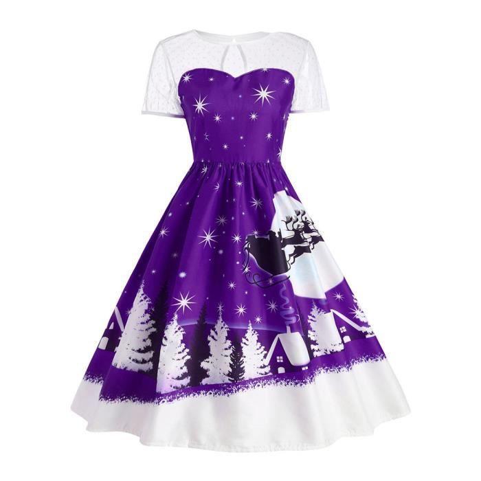 Napoulen®Femme Vintage Noël O-Neck imprimé manches courtes a-line Swing robe VIOLET-HCM71023173PP