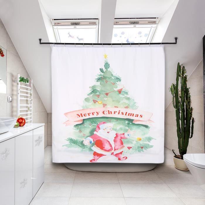 Rideau De Douche Carré 72 * 72In Style De Noël Avec 12 Crochets À