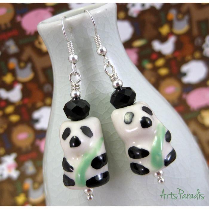 Craze Petite céramique Panda Dangle Boucles doreilles par