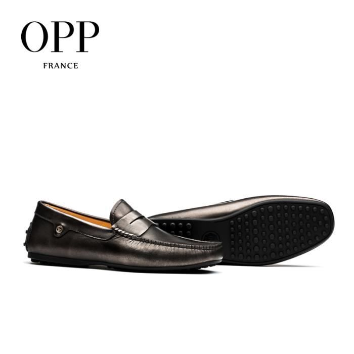 OPP Homme Mocassin Chaussures Business Gris OD3291argent gris45