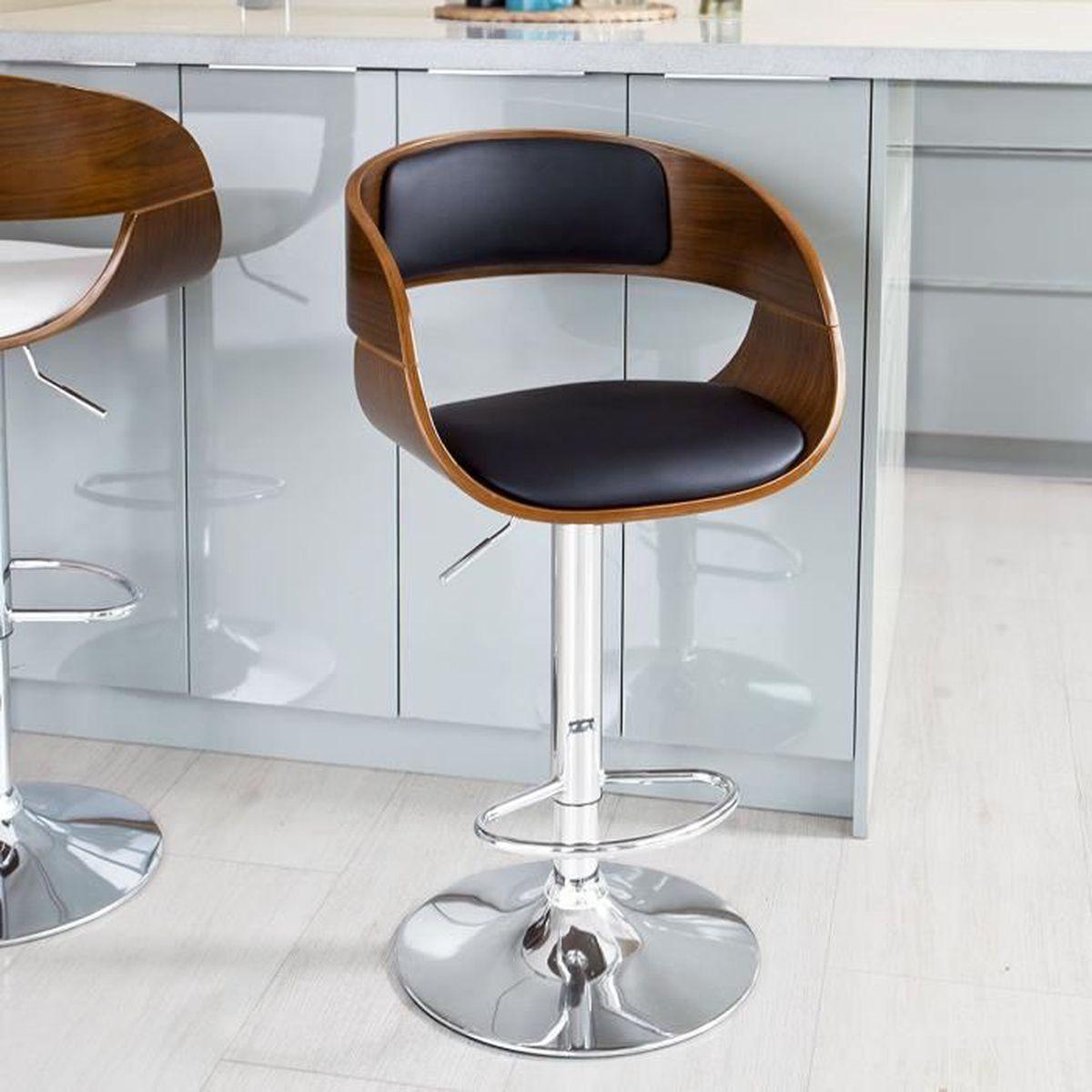 tabouret de bar rotatifs et r glables en hauteur avec dossier et repose pieds haute qualit. Black Bedroom Furniture Sets. Home Design Ideas