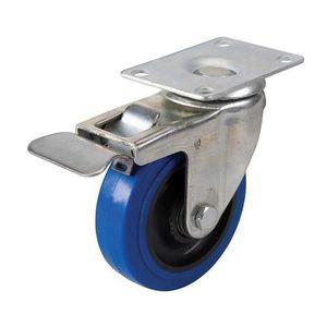 ROUE - ROULETTE Roulette bleue en caouthcouc pivotante 100 mm 140