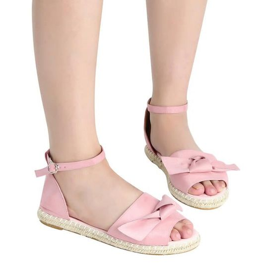 Peep Bow Flock Femmes Talon Couleur Solide Mode Rose Sandales Hasp Plat Toe n80XOPwk