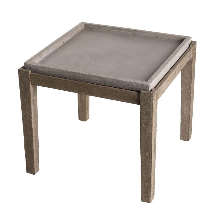 Table d'appoint carrée - Béton pieds Acacia marron - 50 x 50 cm - Gris