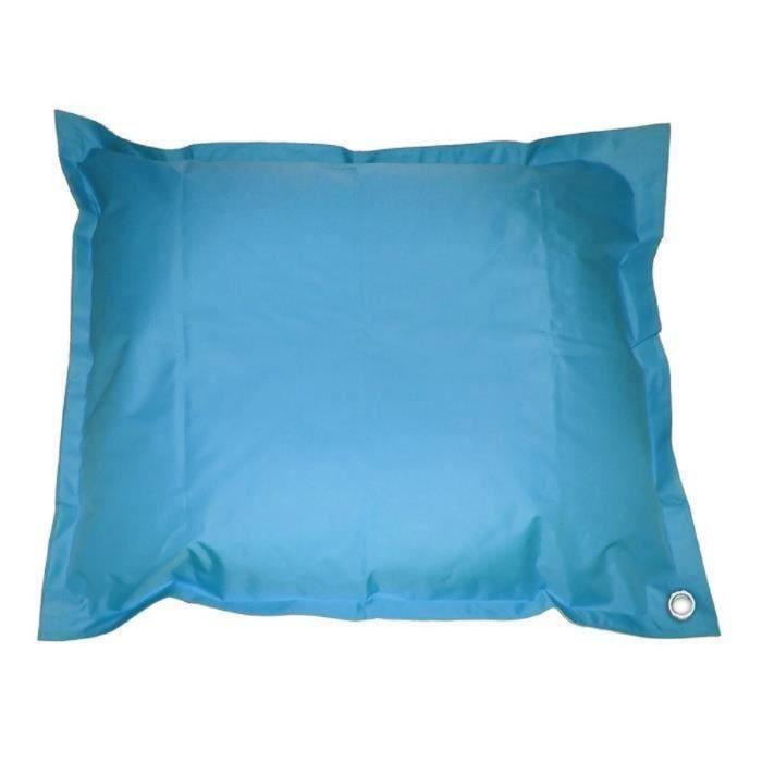 Maxi Pouf géant imperméable & déhoussable CORFOU Intérieur & Extérieur - 140x180 cm - Bleu turquoise