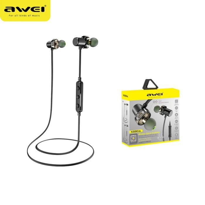 Awei X680bl Ipx4 Bluetooth Étanche Double Conducteur Aimant Dans L'oreille W - Mic @yunsoel4938