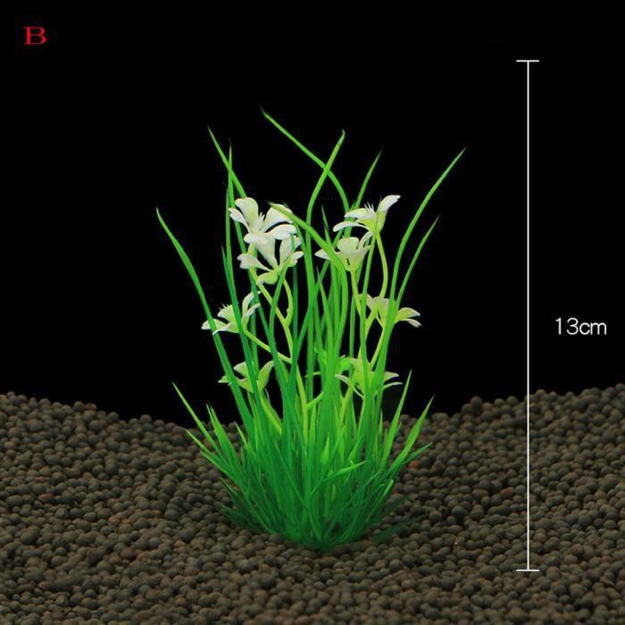 Usine De Décoration En Plastique D'aquarium Plantes Vertes D'herbe D'ornement Hjn358