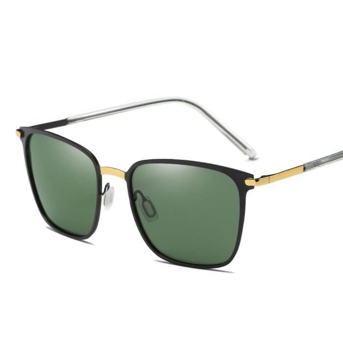 Lunettes de soleil mixte homme et femme polarisées Grande Cadre Rétro sunglassesMétal Cadre Golden/Vert
