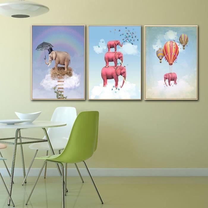 sans cadre nordique enfants chambre peinture dessin anim lphant chaud air ballon toile image. Black Bedroom Furniture Sets. Home Design Ideas