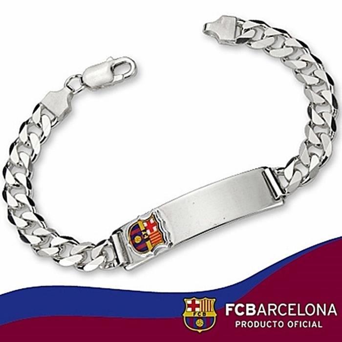 chaînette écusson F.C. Barcelona Argent massif barbada grande taille