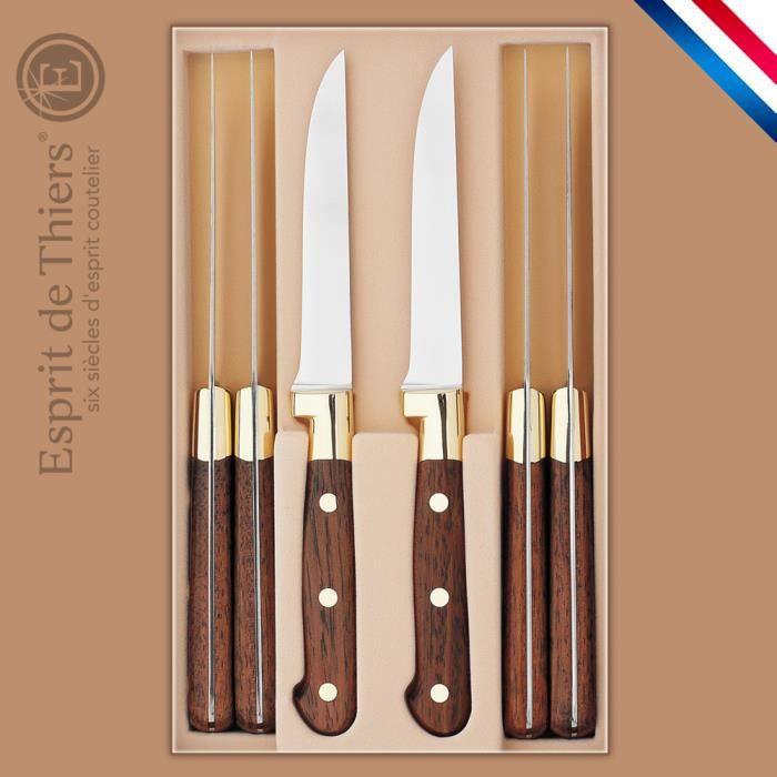 coffret 6 couteaux steaks mitre laiton haute achat vente couteau de cuisine coffret 6. Black Bedroom Furniture Sets. Home Design Ideas
