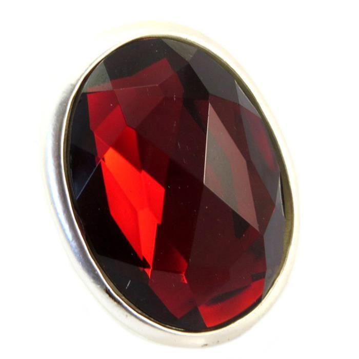 Bague Créateur Sissi rouge argenté - 43x35 mm [P6421] 1Q78X
