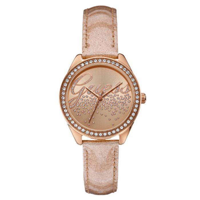 Bien connu Montre GUESS Femme Bracelet Cuir Beige, Rose, Champagne, Tendance  ZX35