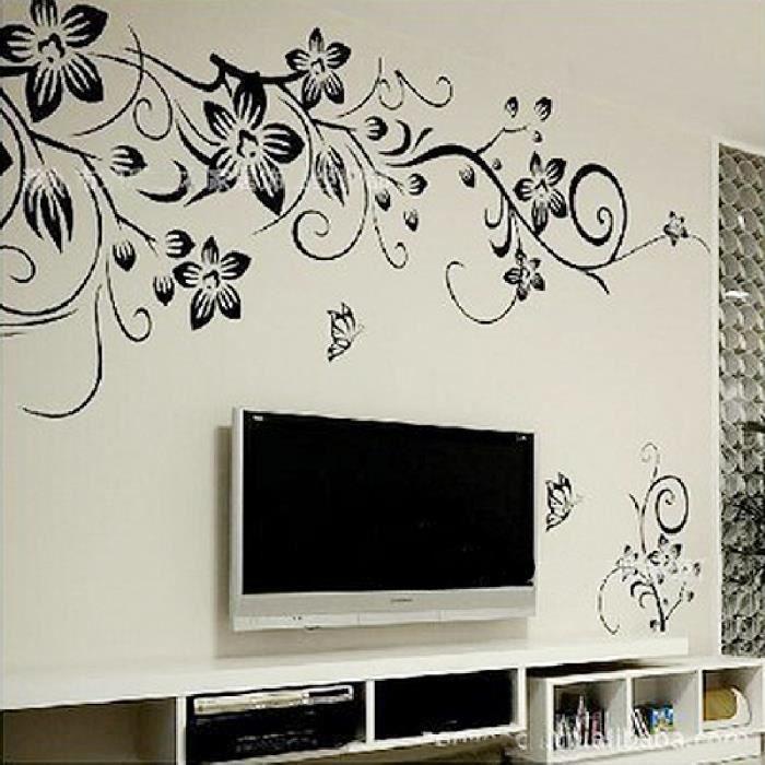 stickers muraux d cor vinyle decal d coratif pour fen tre accueil art vine butterflies amovible. Black Bedroom Furniture Sets. Home Design Ideas