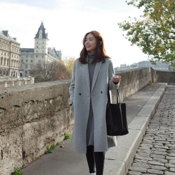 eozy manteau long femme hiver pais chaud gris gris clair achat vente manteau caban. Black Bedroom Furniture Sets. Home Design Ideas