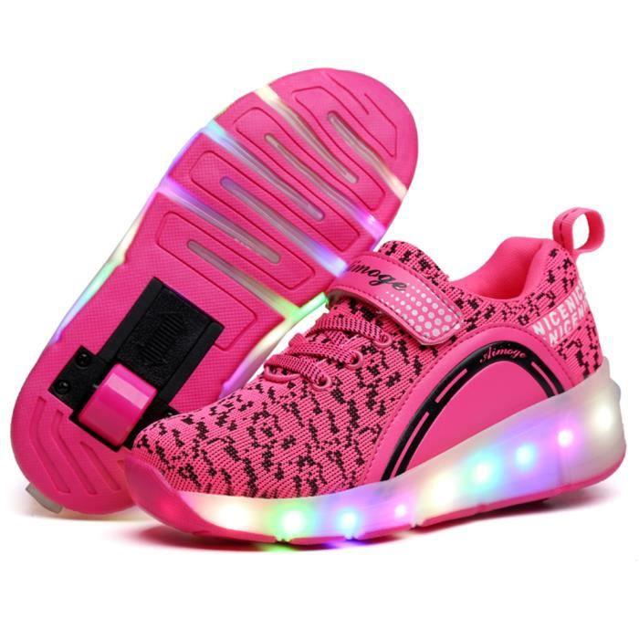 Nouveau Style Enfant Basket Flyknit Roulettes à Chaussures LED Lumière Chaussures Garçons Filles Sneakers Avec Un Roues