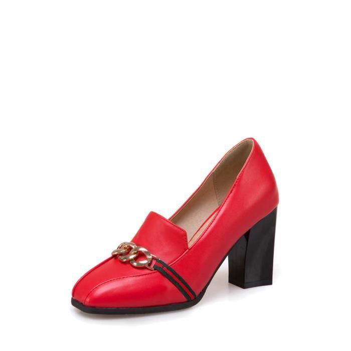 Escarpin Femmes Pompes élégant talon carré Color Block Faddish Chaussures 12932354