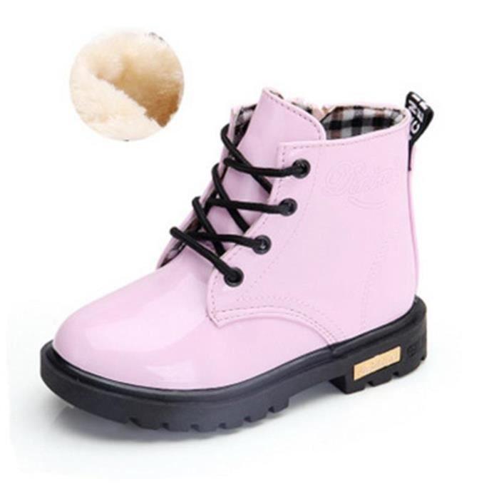 acheter mieux dernière sélection de 2019 de gros Bottes pour Fille Enfant Lacets Eau Preuve Martin Chaussures Épaisse et  Chaud Hiver 21-36 Rose
