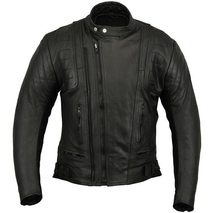Zolki - Blouson Moto Cuir Homme Noir - Veste Style Perfecto Biker Motard  Homologuée CE f692d1c5464