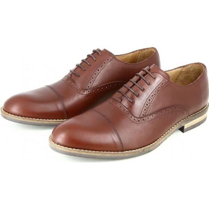 f60c71ce639b98 Chaussures homme Richelieu en Cuir Cognac BELYM 3735 Camel - Achat ...