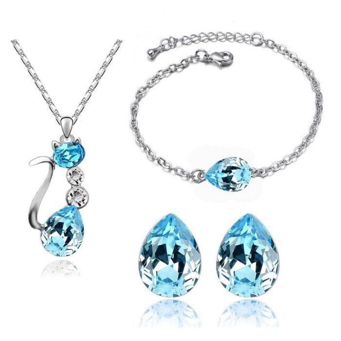 Parure chat avec bracelet et boucles doreilles goutte cristal swarovski elements plaqué or blanc Couleur Bleu turquoise