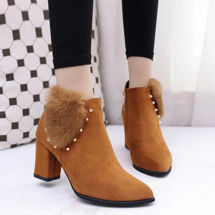 forme Ladie Chaussures Bottes Boucle Martin Talons Plate nbsp;marron Hauts À Femmes Slope Rq4gx