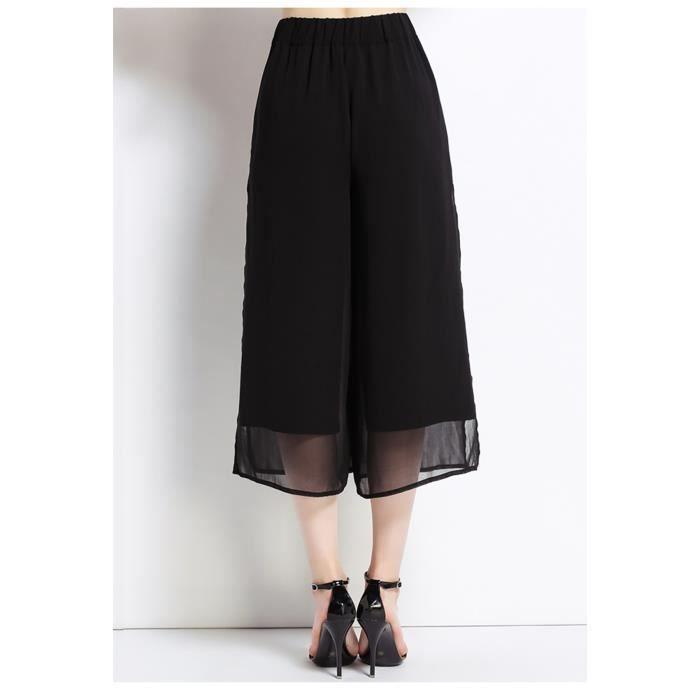 femmes pantalon été plus la taille élégante en mousseline de soie nouvelle 2018 grande taille large jambe noire