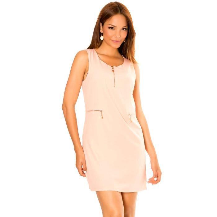 Miss Wear Line - Robe droite rose à col zip et poche fantaisies zip