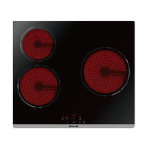 BRANDT BPV6321B - Table de cuisson vitrocéramique-3 zones-5300W-L60cm-Rev?tement verre-Noir