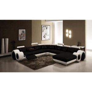 CANAPÉ - SOFA - DIVAN Canapé d'angle panoramique cuir noir et blanc rela