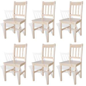 CHAISE Lot de 6 chaises Thomas en bois naturel -