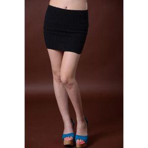 JUPE Mini jupe courte crayon femme tricoté vague façonn ...