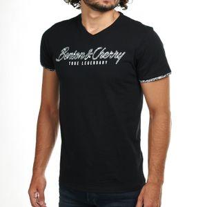5086fa03ad3 T-SHIRT T-Shirt Col V Benson Cherry Couleur Noir Modèle TE