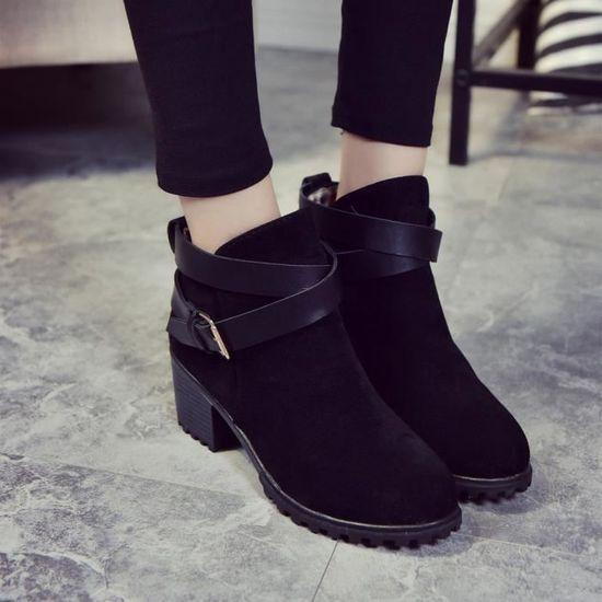Les femmes d'hiver neige Ceinture dames talon bas cheville Boucle Martin Bottes Chaussures  Noir 39 - Achat / Vente botte