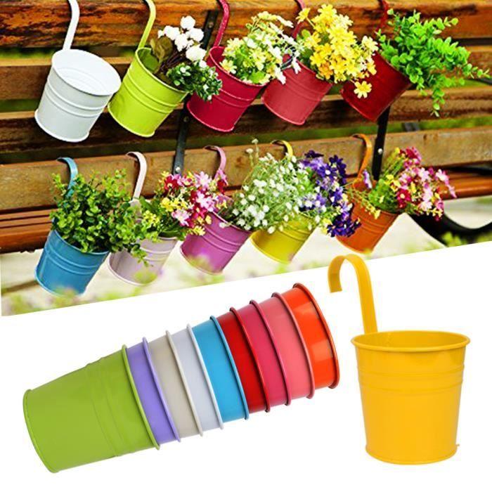 Lot 10pcs pots de fleurs exterieur accrocher color s amovible d coration jardin maison balcon - Pot de couleur pour jardin ...