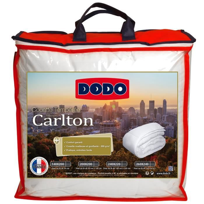 DODO Couette tempérée 300 gr/m² Carlton - 220x240 cm - Blanc