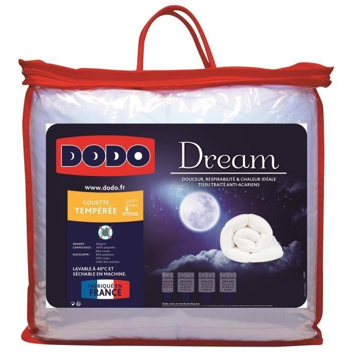 DODO Couette tempérée 350gr/m² DREAM 220x240cm Anti-Acariens 350g