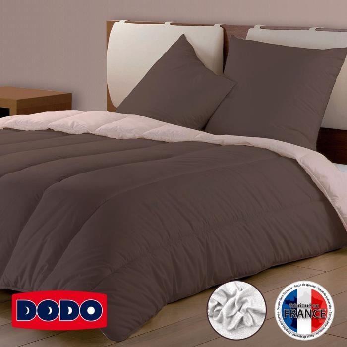 DODO Couette Confort Molletonné - 220 x 240 cm - Chocolat et rose