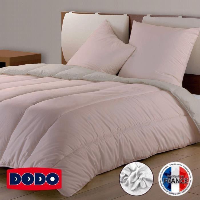 DODO Couette Confort Molletonné - 220 x 240 cm - Rose et beige