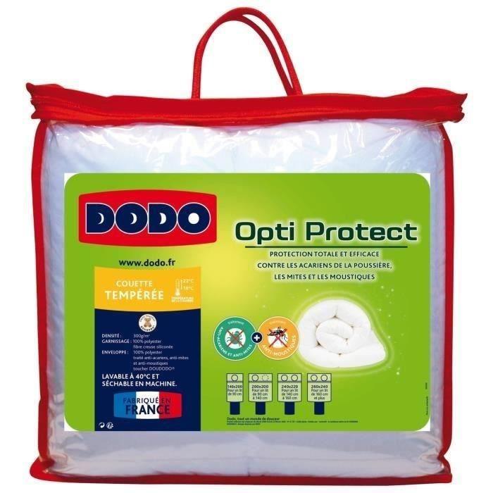 DODO Couette tempérée 300g/m² OPTI-PROTECT 220x240 cm blanc