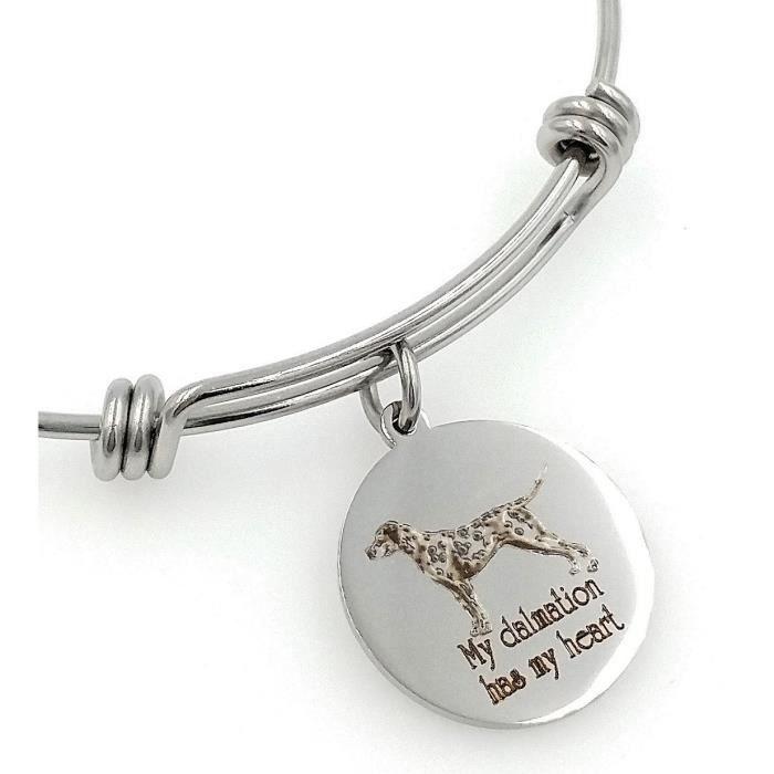 Mon dalmate de femmes a mon coeur Gravé Bracelet extensible HN37R