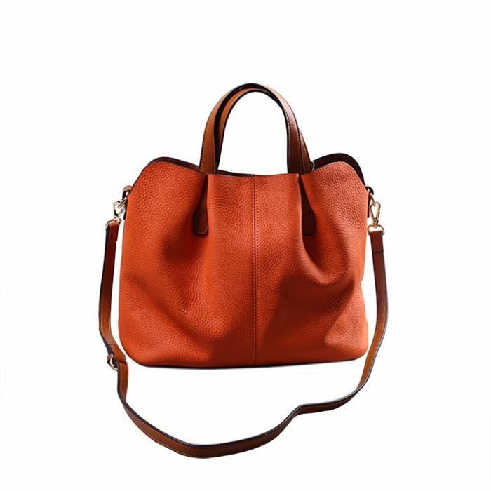 HFT70114110OR Mode cuir double sac à bandoulière sac à main mobile Messenger ou