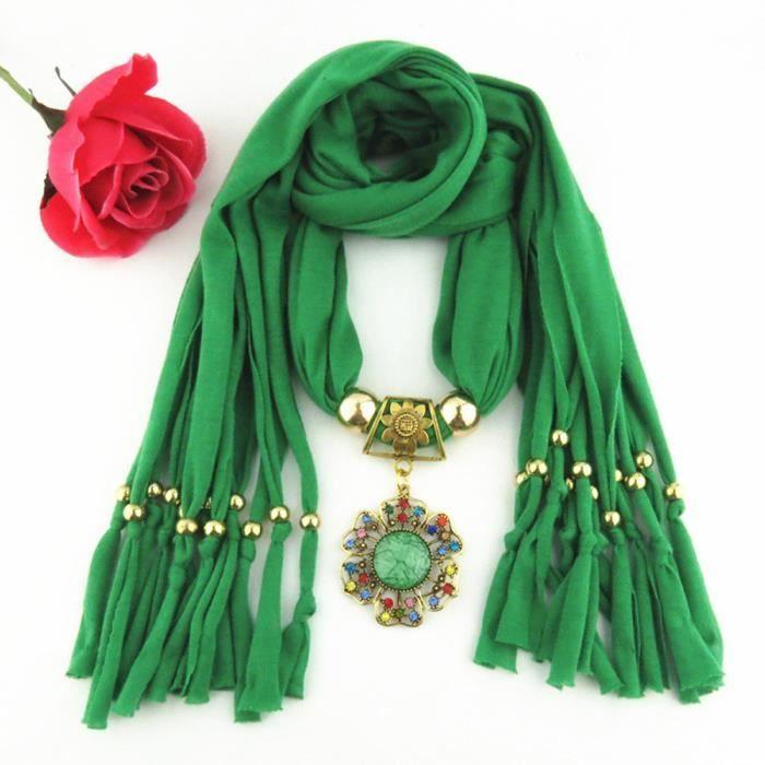 Foulard pendentif femme avec écharpe à bijoux en perle strass LP-874 ... 852ed20e2e1