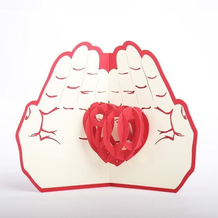 Carte Cdiscount St Valentin.Carte De Vœux 3d Apparaitre Coeur En Main Carte Cadeau Saint Valentin Amoureux Anniversaire Carte D Invitation Mariage