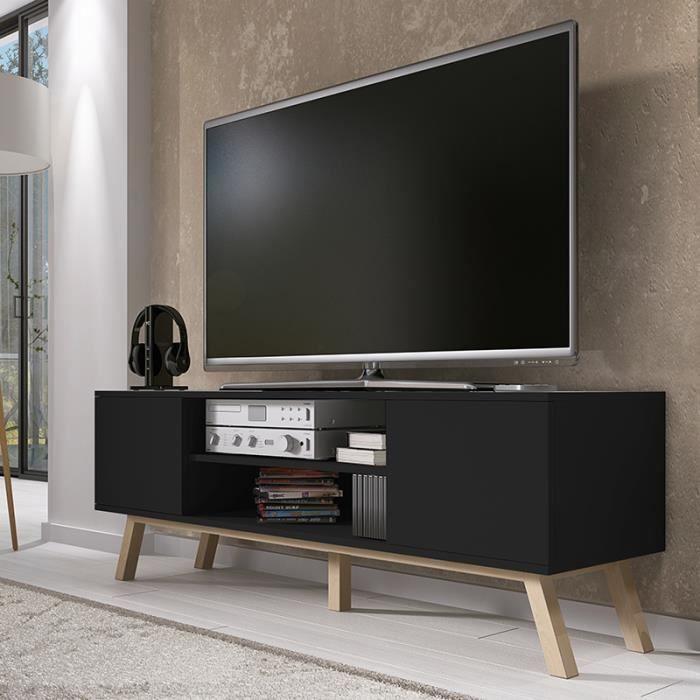 meuble tv meuble salon vero bois 150 cm noir mat style scandinave style nordique. Black Bedroom Furniture Sets. Home Design Ideas