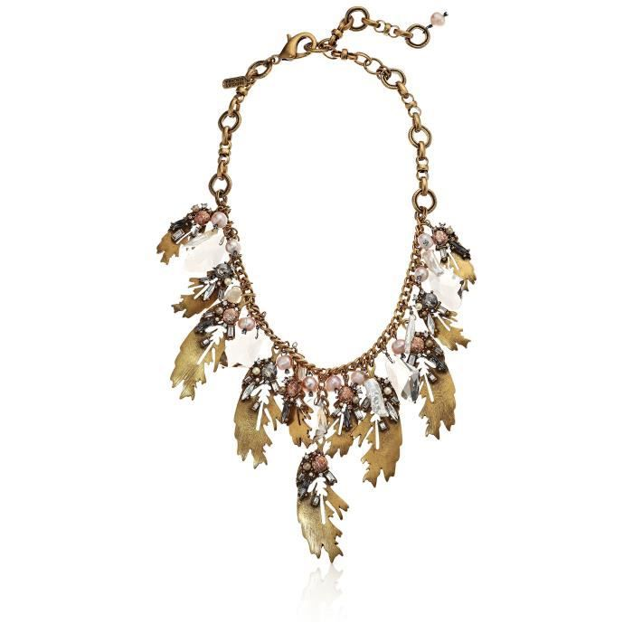 Badgley Mischka Leaf And Pearl Shaky Necklace A61AX