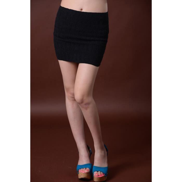 60d72350b7e3 Mini jupe courte crayon femme tricoté vague façonné brodé moulant collant  extensible slim sexy vintage vogue printemps été-Noir