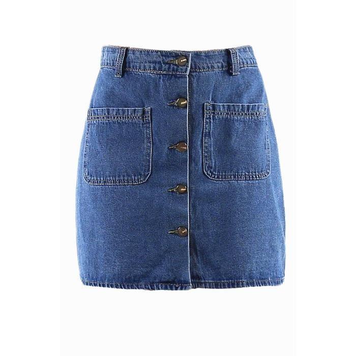 4a6cca5d4e Jupe en jean avec poches et boutons Bleu - Achat / Vente jupe ...