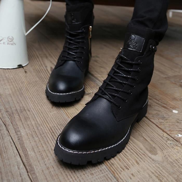 Noir Bottes de mode pour hommes occasionnels bottes de tirette bottes d'hiver Martin chaudes.